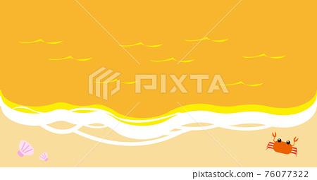 블로그 아이 캐치 용 위에서 본 간단한 저녁 해변 일러스트 소재 76077322