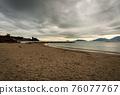 Sandy Beach and Seascape in Winter - Lerici town Gulf of La Spezia Liguria Italy 76077767