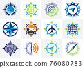Compass Logo Vector Icon set, Modern Navigation Sign Symbol 76080783