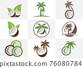 Creative modern coconut with leaves sign logo design template. Icon set 76080784