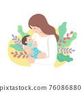 母親抱著嬰兒 76086880