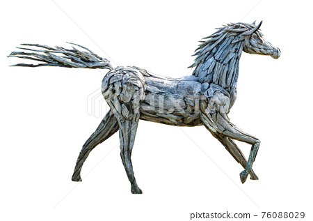 Beautiful horse made of many pieces wood isolated on the white background including with clipping path 76088029