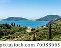 Aerial View of the Gulf of La Spezia with Lerici and Porto Venere Town - Liguria Italy 76088665