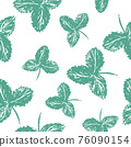 Vector brush paint strawberry leaf pattern. Seamless summer background 76090154