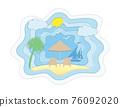 summer sea view sky and beach paper cut art banner vector illustration 76092020