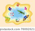 summer sea view sky and beach paper cut art banner vector illustration 76092021