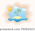 summer sea view sky and beach paper cut art banner vector illustration 76092023