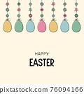 Concept of Easter greeting card with hanging eggs. Vector 76094166