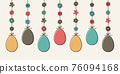 Hanging Easter eggs. Colourful banner. Vector 76094168