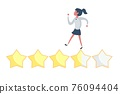 Customer review concept. Rating golden stars. Feedback, reputation, review. Bad rating. 76094404