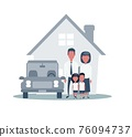 Insurance Home House Life Car Protection. Protect Concepts. Family infront of House with Car. 76094737