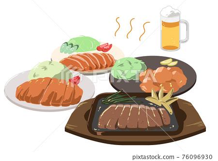 pork fried with ginger, pork cutlets, vector 76096930