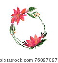 Watercolor round wreath with pink flower and twigs 76097097