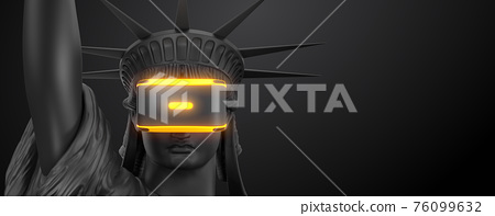 VR headset with neon light, future technology concept banner. 3d render of the statue of Liberty, usa, woman wearing virtual reality glasses on black background. VR games. Thanks for watching 76099632