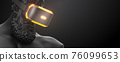 VR headset with neon light, future technology concept banner. 3d render of the statue, man wearing virtual reality glasses on black background. VR games. Thanks for watching 76099653