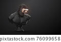 VR headset with neon light, future technology concept banner. 3d render of the statue, man wearing virtual reality glasses on black background. VR games. Thanks for watching 76099658