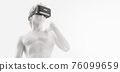 VR headset, future technology concept banner. 3d render of the white statue, man wearing virtual reality glasses on white background. VR games. Thanks for watching 76099659