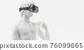 VR headset, future technology concept banner. 3d render of the white statue, man wearing virtual reality glasses on white background. VR games. Thanks for watching 76099665