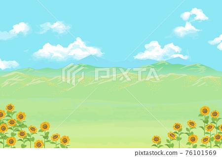 向日葵盛開的草甸、天空和山地景觀矢量圖 76101569