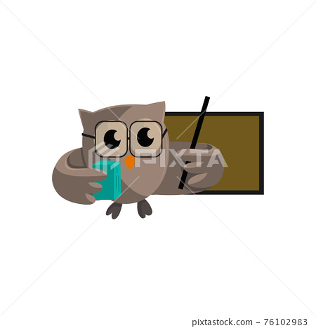 Owl bird Bring Book and pointing to blank board. template design Smart Education with Owl Symbol 76102983