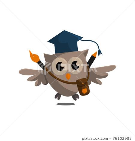 Owl bird template design Smart Education with Owl Symbol 76102985