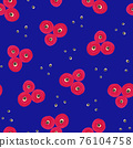 Pink Blue Flowers Painted floral seamless pattern. Hand drawn oil acrylic paint simple flowers on a 76104758