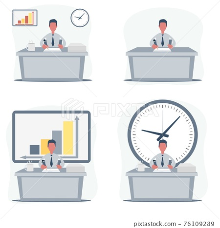 Handsome male office employee sitting at desk. Business casual men working concept. 76109289