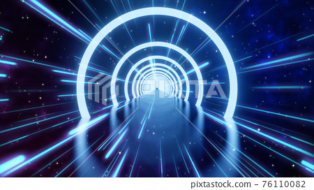 Loop motion of glowing neon ring and dark galaxy star background. Cyber Futuristic High Speed light zoom. Circles laser show fashion. Backdrop beam blur Flare.Abstract Light fast night with way space 76110082