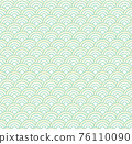 Seamless abstract green wave pattern japanese tradition style. Fabric texture retro decorative wallpaper. Chinese traditional oriental ornament background, green clouds pattern seamless illustration 76110090