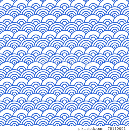Seamless abstract blue wave pattern japanese tradition style. Fabric texture retro decorative wallpaper. Chinese traditional oriental ornament background, blue clouds pattern seamless illustration 76110091