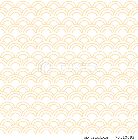 Seamless abstract yellow wave pattern japanese tradition style. Fabric texture retro decorative wallpaper. Chinese traditional oriental ornament background, yellow clouds pattern seamless illustration 76110093