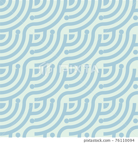 Seamless abstract green wave pattern japanese tradition style. Fabric texture retro decorative wallpaper. Chinese traditional oriental ornament background, blue clouds pattern seamless illustration 76110094