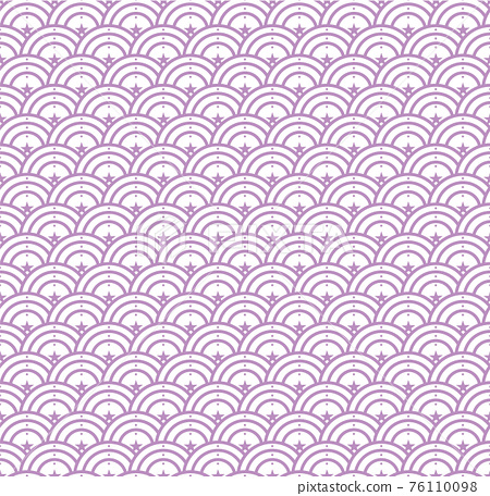 Seamless abstract stars wave pattern japanese tradition style. Fabric texture retro decorative wallpaper. Chinese traditional oriental ornament background, Purple clouds pattern illustration 76110098