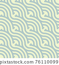 Seamless abstract green wave pattern japanese tradition style. Fabric texture retro decorative wallpaper. Chinese traditional oriental ornament background, blue clouds pattern seamless illustration 76110099