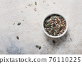 seeds for salad mix on the marble background 76110225
