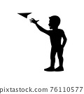 black silhouette design with isolated white background of boy play paper plane 76110577