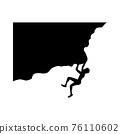 black silhouette design with isolated white background of man climb cliff 76110602