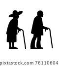 black silhouette design with isolated white background of two olders 76110604