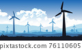 Silhouette design of turbines field with blue tone color 76110605