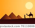 Silhouette design of men and camel walking across desert 76110606