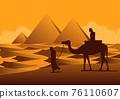 Silhouette design of men and camel walking across desert 76110607
