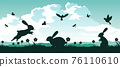 black and color of silhouette design of holiday of Christianity called easter 76110610