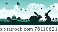 black and color of silhouette design of holiday of Christianity called easter 76110621