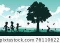 black and color of silhouette design of holiday of Christianity called easter 76110622