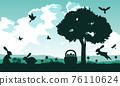 black and color of silhouette design of holiday of Christianity called easter 76110624