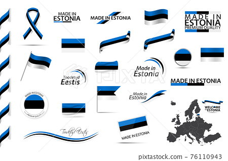 Big vector set of Estonian ribbons, symbols, icons and flags isolated on a white background. Made in Estonia and Toodetud Eestis (in English and Estonian) premium quality. Set for your infographics 76110943