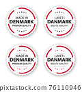 Set of four Danish labels. Made in Denmark In Danish Lavet i Danmark. Premium quality stickers and symbols with stars. Simple vector illustration isolated on white background 76110946