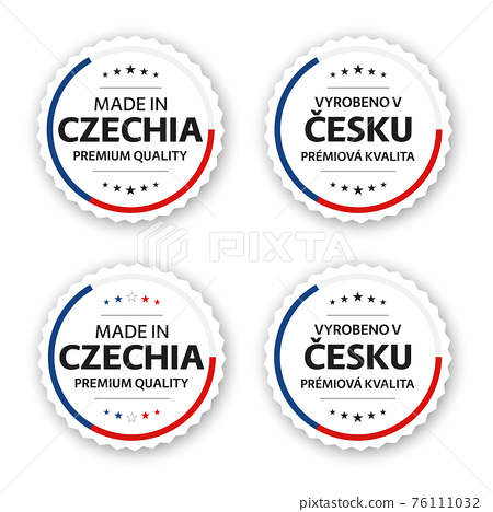 Set of four Czech labels. Made in Czechia. Premium quality stickers and symbols with stars. Simple vector illustration isolated on white background 76111032