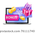 Loyalty program vector illustration, customer gift card concept, laptop, present boxes, gold coins 76111740
