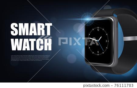 Realistic Smart Watch Horizontal Banner 76111783